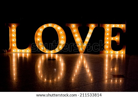 LOVE Happy Valentines day card, Font Type,Caption word love,Love inscription from the Light.. - stock photo
