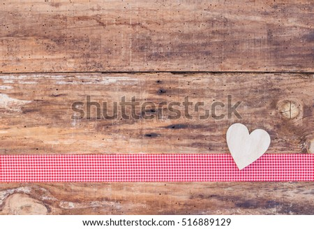 Love Heart Background Rustic Wood With Red Checkered Ribbon