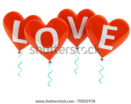 Love heart balloons isolated on white