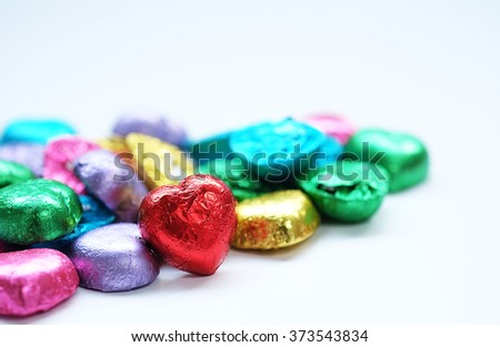 Love Heart Chocolate Valentine focus on red one