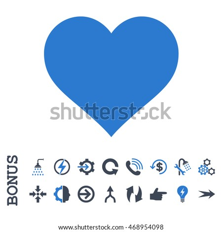 Love Heart glyph bicolor icon. Image style is a flat pictogram symbol, smooth blue colors, white background.
