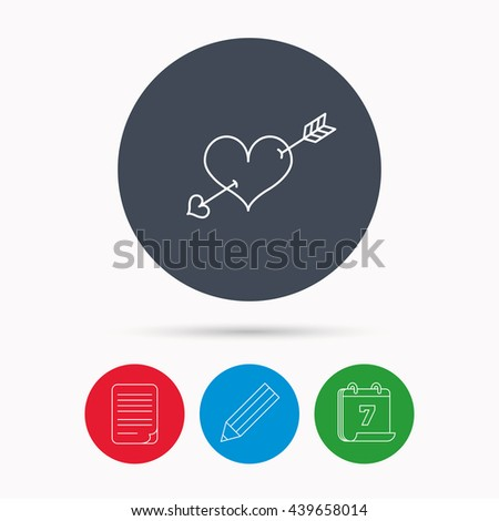 Love heart icon. Amour arrow sign. Calendar, pencil or edit and document file signs.  - stock photo