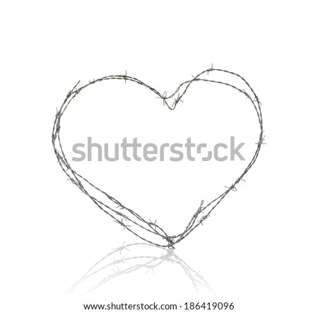 Love Heart Made Barbed Wire On Stock Photo & Image (Royalty-Free ...