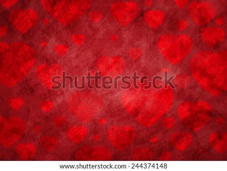 Love heart on grunge background - stock photo