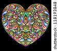 Love Heart Psychedelic Art Design - stock photo