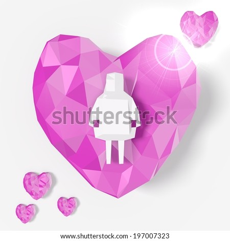 love heart woman symbol in low poly 3d style for poly illustrations isolated on white background
