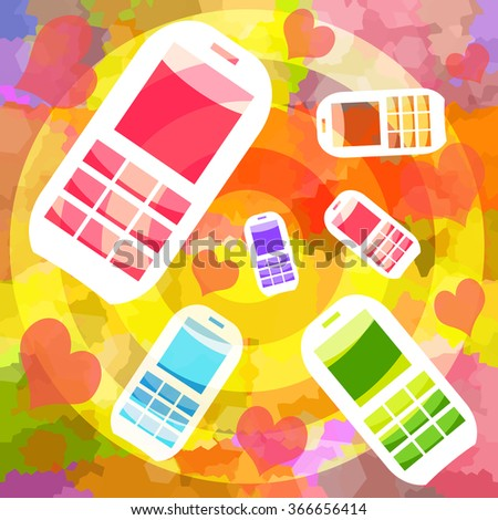 Love hearts and mobile phones on bright painting abstract background - stock photo
