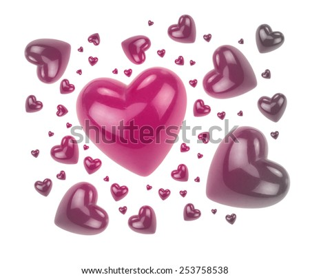 Love hearts isolated on white background. - stock photo