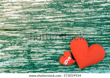 Love hearts on wooden texture background, valentines day card co - stock photo