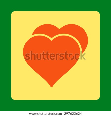 Love icon from Award Buttons OverColor Set. Icon style is orange and yellow colors, flat rounded square button, green background. - stock photo