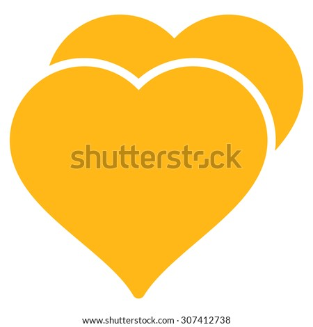 Love icon. Glyph style is flat symbols, yellow color, rounded angles, white background. - stock photo