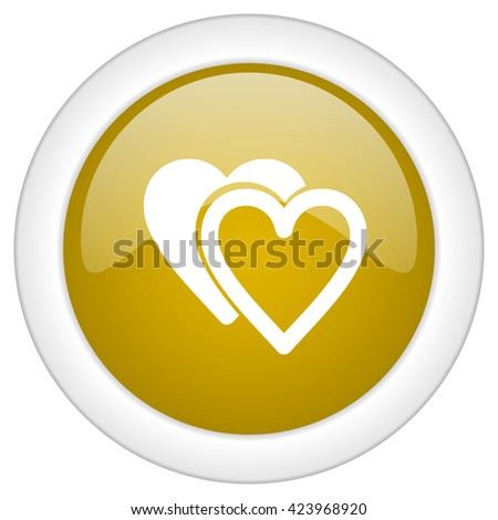 love icon, golden round glossy button, web and mobile app design illustration - stock photo