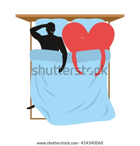 Love in bed. Lovers in bed top view. Man and heart lie in bed. Smoking after sex. Heart- symbol of love. Pillow and blanket. Smoking  cigarette after making love. Blue Bedding. Romantic illustration - stock photo