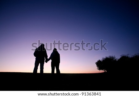 Love in the sunset - a couple holding hands walk on a hilltop against the evening sky
