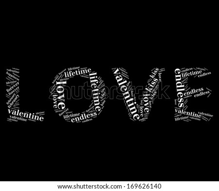 Love info-text graphic and arrangement concept on black background (word cloud)  - stock photo