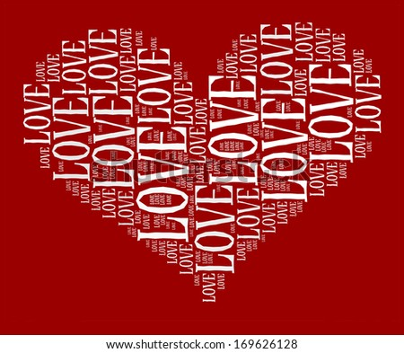Love info-text graphic and arrangement concept on red background (word cloud)  - stock photo