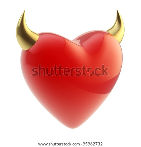 Love is evil: heart symbol with horn isolated on white - stock photo