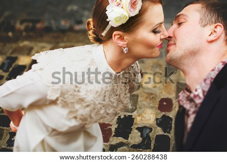 love kiss girl stretches her lover - stock photo