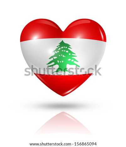 Love Lebanon symbol. 3D heart flag icon isolated on white with clipping path - stock photo