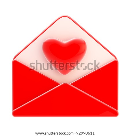 Love letter emblem as a red envelope with heart inside isolated on white