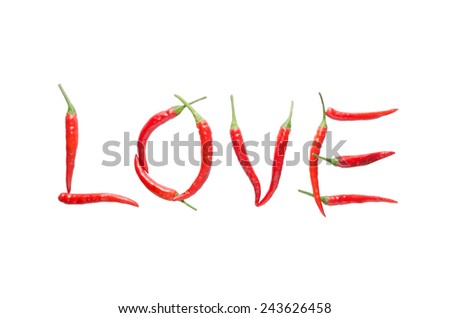 Love letter from red chili isolated on white background - stock photo