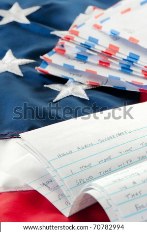 Love letter written to deployed soldier - stock photo