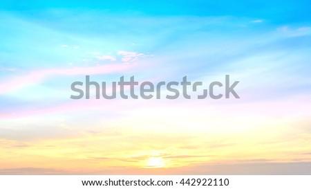 Love Line Magenta Purple Soft Orange Yellow Pink Blue White Sun Ray Glow Art View Sunny Warm Dawn Cloud Dusk Power Vivid Freedom Drama Scene Cloud Peace Color Nature Haze Heaven Paradise concept - stock photo