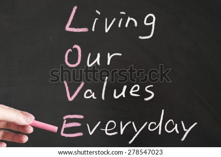 Love - Living our values everyday words written on the blackboard using chalk