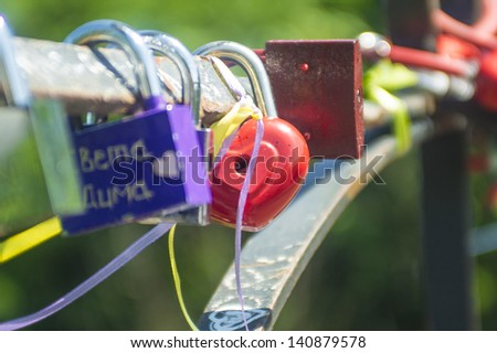 Love locks - stock photo