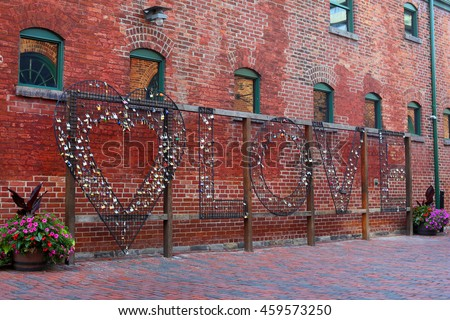 Love Locks at Distillery District in Toronto.