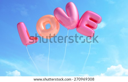 Love made from balloons - stock photo