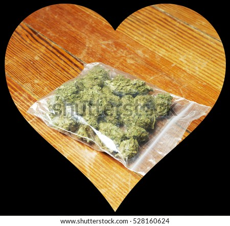 Love Marijuana, Heart Shaped Weed Pot Cannabis
