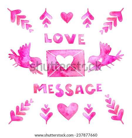 Love message card. Waterclolor Valentine Day card with love message lettering, envelope, birds, feathers,hearts. - stock photo