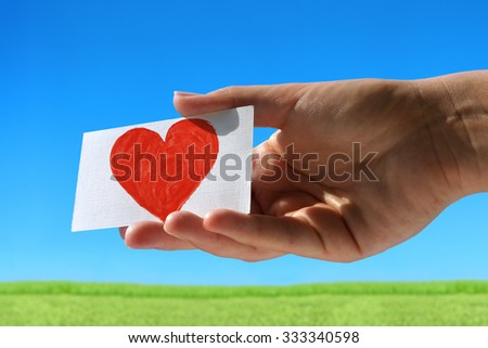 Love message on small visiting card - stock photo