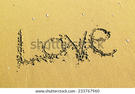 love message written on sand