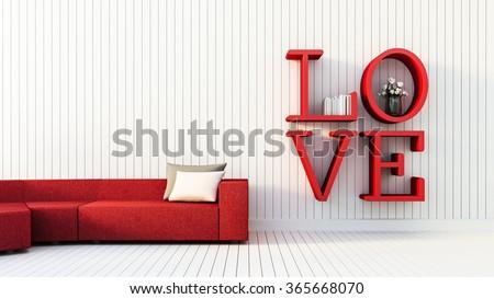 Love - modern interior for Valentine's day / 3D render image - stock photo