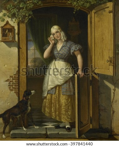 Love Note, by Johannes Hendrik van West, 1838, Dutch painting, oil on canvas. A young woman in the doorway of a house holding a letter to her head. Painting details include a caged bird, a dog, a Dutc - stock photo