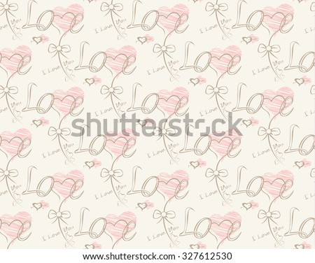 Love note Seamless text pattern with hearts. Text backgrounds applicable in printing, textiles , art objects , clothing , wallpaper , computer screensavers , games and applications . - stock photo