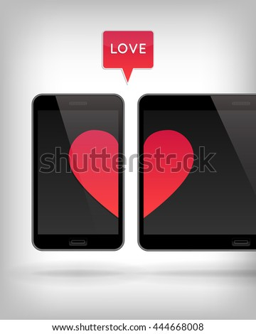 Love on Gadget. Illustration of smart phone and tablet. Happy Valentines Day on Mobile and Tablet. Phone and tablet screen with Hearts. - stock photo