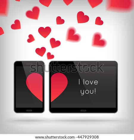 Love on Gadget. Illustration of smart phone and tablet. Happy Valentines Day on Mobile and Tablet. Phone and tablet screen with Hearts. Scattering hearts on background - stock photo