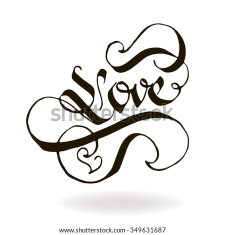 LOVE original custom hand lettering for postcards or invitations