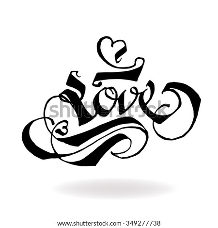 LOVE original custom hand lettering typography background for romantic photo cards/ party invitations for Christmas Holidays