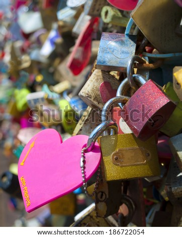 love padlocks at the Seoul Tower in Namsan Park in Seoul, South Korea - stock photo