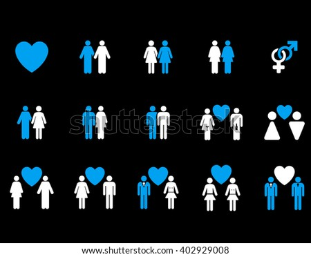 Love Pairs raster icon set. Style is bicolor blue and white flat symbols isolated on a black background.