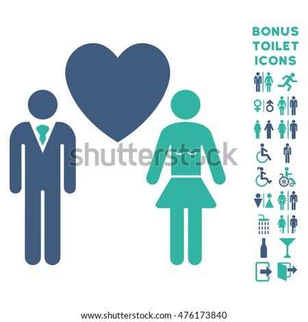 Love Persons icon and bonus male and lady toilet symbols. Glyph illustration style is flat iconic bicolor symbols, cobalt and cyan colors, white background.