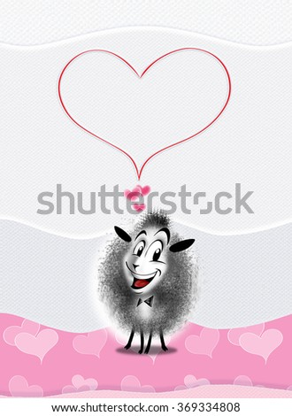 Love postcard. Charming sheep and large heart on pink white color paper background. Illustration with one cute sheep. You can share your card on social media, to print this card or send it in a email - stock photo