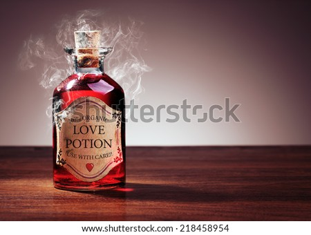 Love potion bottle, concept for dating, romance and valentine's day - stock photo