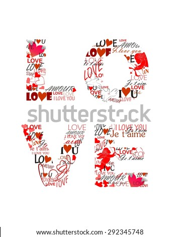 Love. Print for Valentines day - stock photo
