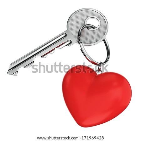 Love, relationship, wedding and Valentines day concept. Nickel door key with red heart shaped keyring isolated on white background. - stock photo