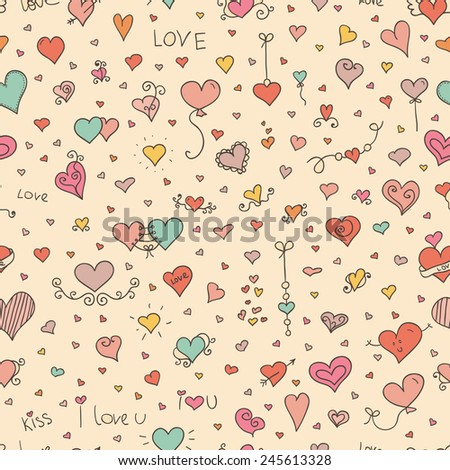 Love  seamless pattern. Doodle hearts. Ideal for celebration card, wrapping paper for Valentine gift, textile, wallpaper, web pages background, scrap booking